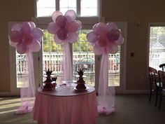 Balloon Clouds framing a wedding cake table. Balloon Topiary, Balloon Arch, Cake Table Decorations, Balloon Decorations, Grad Parties, Birthday Parties, Princess Balloons, Floating Balloons, Wedding Set Up