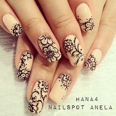 flower lace nail art