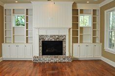 Oak Overhang Home in Daniel Island, SC by JacksonBuilt Custom Homes fireplace/built ins Fireplace Built Ins, Home Fireplace, Fireplace Surrounds, Fireplace Design, Fireplace Mantels, Fireplaces, Modern Farmhouse Interiors, Kitchen And Bath Design, Cozy Room