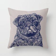 MANDALA+OF+PUG+Throw+Pillow+by+Huebucket+-+$20.00