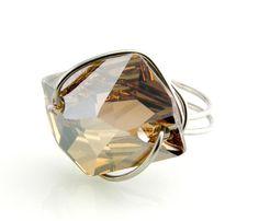 Swarovski Cosmic Ring Button Golden Shadow by TrinketsNWhatnots, $30.00