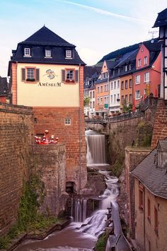 Saarburg, Germany, this little waterfall in the town is amazing!