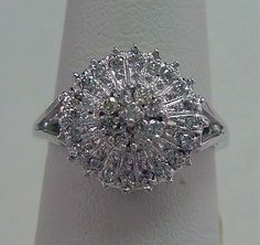Antique Vintage .50ct Womens Diamond Cluster Ring in Solid 10K White Gold by americanjewelryco, $275.00