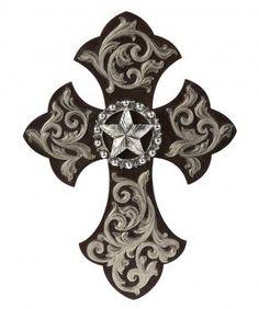Silver & Brown Star Wall Cross