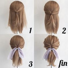 These curly easy hairstyles truly are gorgeous! 5 Minute Hairstyles, Work Hairstyles, Ponytail Hairstyles, Hair Ponytail, Pretty Hairstyles, Medium Hair Styles, Curly Hair Styles, Hair Arrange, Pixie Haircut