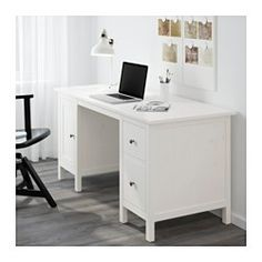 IKEA - HEMNES, Desk, light brown, , You can collect cables and extension cords on the shelf under the table top, so they're hidden but still close at hand.Cable outlets for easy cable management.The lower drawer has a file frame that can be adjusted to fit letter or legal files.Can be placed anywhere in the room because the back is finished.Solid wood is a durable natural material.You can mount the drawers to the right or left, according to your needs.The small compartment in the top drawer…