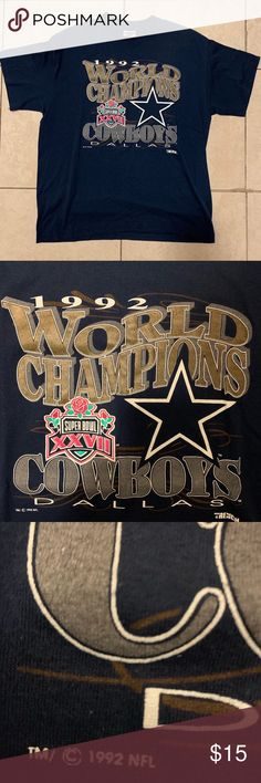 bdd08cf0c 1992 Vintage Dallas Cowboys Super Bowl Champs Tee -On a Trenches Tag -Print  is