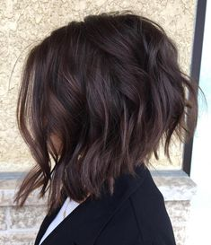 Shoulder-Length Spiraled Bob - 50 Wavy Bob Hairstyles – Short, Medium and Long Wavy Bobs for 2019 - The Trending Hairstyle Brown Bob Hair, Dark Brown Lob, Dark Chocolate Brown Hair, Inverted Bob Hairstyles, Quick Hairstyles, Wavy Lob, Lob Haircut, Brown Hair Colors, Celebrity Hairstyles