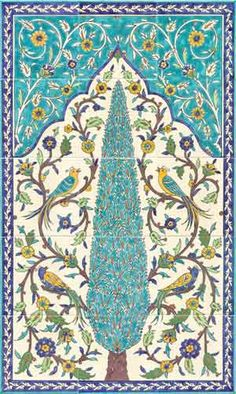 Birds of paradise mural, 15 tiles, inches. Painted on 15 six inch tiles, this magnificent mural shows a central cypress tree and 4 birds of paradise. Painting Ceramic Tiles, Ceramic Art, Painted Tiles, Islamic Art Pattern, Pattern Art, Islamic Tiles, Keramik Design, Persian Pattern, Turkish Art