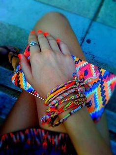 Friendship bracelets & neon orange nails