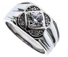 Touch of Class White Gold overlay Mens Ring Russian Formula czs Size 9 *** More info could be found at the image url.