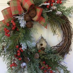 Christmas Wreath for Door-Winter Wreath-Birdhouse by ReginasGarden