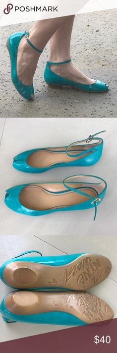 Nine West PEEP TOE FLATS ankle strap AQUA blue 8.5 Pin up chic! Nine West PEEP TOE FLATS with adjustable ankle strap in a bold beautiful turquoise blue. Sz 8.5. Excellent condition! Like new! N27 Nine West Shoes Flats & Loafers