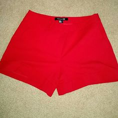 Red shorts Silky red shorts. Worn twice. Forever 21 Shorts
