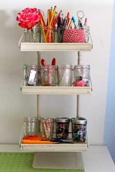 this is how i organized my itty bittys with sewing ~ buttons, safety pins, tidbits of ribbon & fabric, etc.