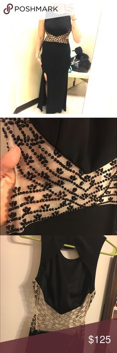 Black formal gown. Mesh beaded cutout in front, open back. Brand new! Purchased from Dillard's Dresses Prom