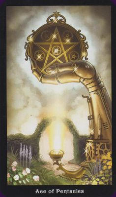 Aces are portals between the realms of the Major Arcana and Minor Arcana. They allow powerful, but impersonal forces to come into your life. An Ace is always interpreted as beneficial, positive and life-enhancing. {Ace of Pentacles - The Steampunk Tarot}