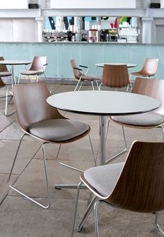 Curve offers a high level of comfort and shape, whilst uncompromising on style and function. This stacking design has a slender chrome wire frame that complements the elegant, balanced ply form, available in both side chair and armchair versions with the additional option of a high stool.