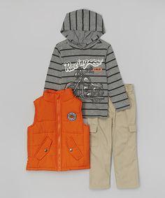 Love this Orange 'Bike Club' Puffer Vest Set - Infant, Toddler & Boys by Kids Headquarters on #zulily! #zulilyfinds