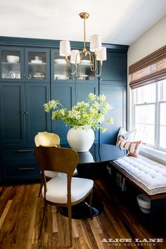 Small Kitchen Remodeling Tiny but mighty dining room nook with gorgeous Farrow Ball paint cabinetry Alice Lane Home Collection Dining Nook, Dining Room Design, Dining Table, Dining Chairs, Kitchen Dining, Kitchen Decor, Floor To Ceiling Cabinets, Rooms Ideas, Alice Lane Home