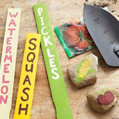 Paint your own garden labels using paint sticks.