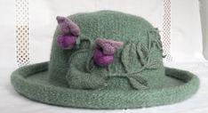 Hand Knit Wool & Mohair Felt Hat in Sage w/ by FeltedFlora on Etsy, $195.00