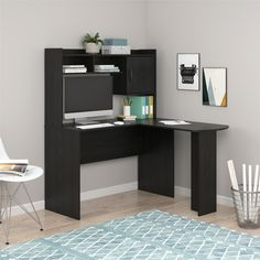 The Mainstays L-Shaped Desk with Hutch allows for maximum use of space in your room. Place your laptop on the desktop surface and still have room to work on your paperwork. Mainstays L-Shaped Desk with Hutch, Multiple Colors. L Desk, Computer Desk With Hutch, Desk Hutch, Corner Desk With Hutch, Computer Desks, Computer Laptop, Desk Storage, Desk Organization, Student Desks