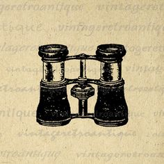 Antique Binoculars Printable Image Graphic Illustration Download Digital Vintage Clip Art. Vintage digital graphic for printing, iron on transfers, and more. For personal or commercial use. This digital graphic is high quality and high resolution at size 8½ x 11 inches. Transparent background version included with every digital image.