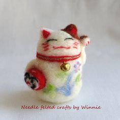 Beckoning cat Maneki Neko handmade Needle by FunFeltByWinnie