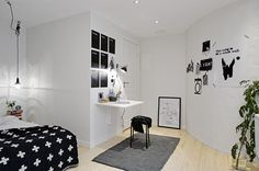 small home office in a white studio
