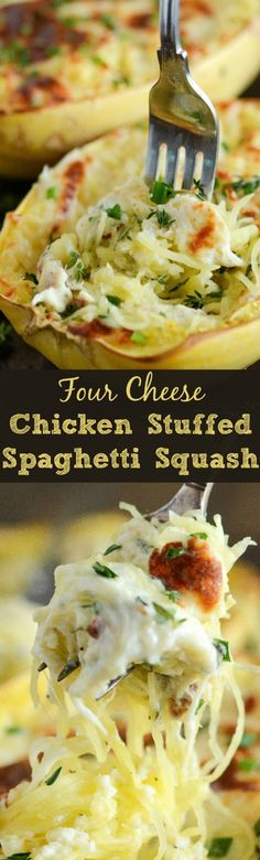Four Cheese Chicken Stuffed Spaghetti Squash - a healthy, cheesy, gluten free dinner that will totally satisfy you!