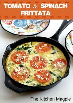 Healthy and delicious tomato and spinach frittata! | @The Kitchen Magpie : Karlynn Johnston #recipes #breakfast #healthy