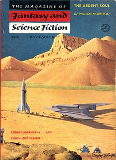 scificovers:  The Magazine of Fantasy and Science Fiction December 1954. Cover by Chesley Bonestell.
