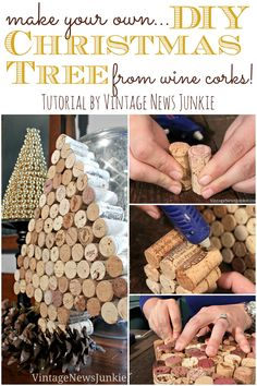 Recycled Christmas Decorations: Make Your Own DIY Christmas Tree from Wine Corks Trees Wine Craft, Wine Cork Crafts, Wine Bottle Crafts, Wine Bottles, Wine Cork Art, Wine Corks, Cork Christmas Trees, Christmas Crafts, Christmas Decorations
