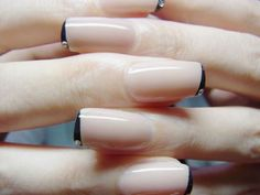 Super sleek modern French mani with one gem for accent.  #olivenailart