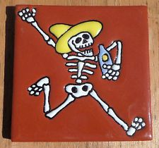 """Talavera Mexican tile 4"""" Day of  the Dead hi relief Man drinking TEQUILA Brown"""