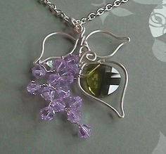 Blooming Lilac Bush silver parawire swarovski by BrandavirJewelry, $41.00