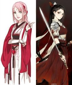 Mother and Daughter || Sakura and Sarada Uchiha || Queens of the Fist>>>And Tsunade. Mustn't forget Tsunade.