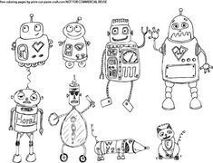 Robots Coloring page I created, find the free printable pdf at print-cut-paste-craft.com