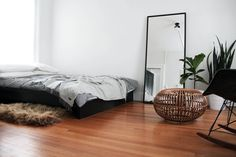 Marvelous minimalist white and grey bedroom only on this page