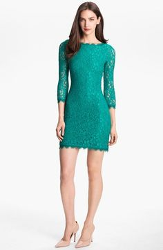Free shipping and returns on Diane von Furstenberg 'Zarita' Lace Sheath Dress at Nordstrom.com. Scalloped eyelash fringe traces every edge of an allover-lace dress. The deep V-back points to an exposed full-length zipper with unexpected edge.