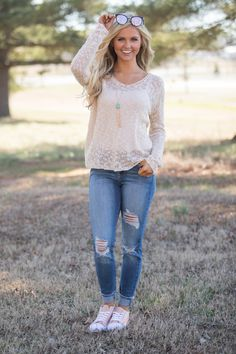 Whether enjoying a conversation by the fire or having a snowball fight outside, this adorable sweater is simply perfect for all of your winter adventures! We love the beautiful cream color paired with Cute Fall Outfits, Spring Outfits, Cool Outfits, Spring Clothes, Capri Pants Outfits, Boutique Clothing, Lily Boutique, 90s Fashion, Fashion Outfits