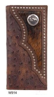 Men's Western Wallet by 3D Belt Company. $54.99. Mens Western Wallet Ostrich and Hair On Hide Leather with Cross Concho Bi-fold wallet. Check book style. Handtooled leather, oak leaf pattern. ID slot, credit card slots, and paper money slot, check book slot. Measures 7 x 3.5 Leather Carving, Leather Art, Leather Tooling, Custom Wallets, Leather Projects, Leather Crafts, Belt Purse, Long Wallet, Card Wallet