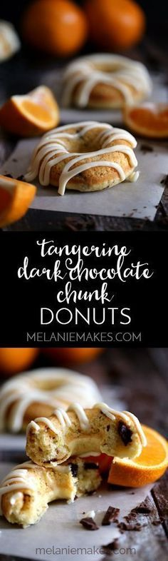 Tangerine Dark Chocolate Chunk Donuts - tangerine juice and zest flavor this light and fluffy baked donut that's studded with dark chocolate chunks. A tangerine spiked mascarpone cheese glaze is then drizzled over the top creating an irresistible morning treat. : melaniemakes