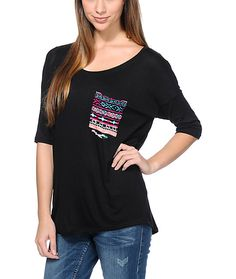 Keep your look trendy with the comfort and style of the Lunachix Tribal Pocket t-shirt for girls. Coming in a Solid Black colorway with a contrasting vibrant multicolor tribal print pocket at the left chest, this loose draped fit t-shirt from Lunachix wil