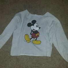 Vintage Mickey mouse cut out sweater Custom cut.made it shorter. I started to cut on sleeves as seen on pic but then decided not too. Will b washes before sending Sweaters