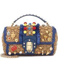 Dolce & Gabbana Hand-embroidered Lucia Shoulder Bag In Raffia In Multi Unique Handbags, Mk Handbags, Embellished Purses, Basket Bag, Shoulder Handbags, Shoulder Bags, Purses And Bags, Crochet Bags, Folk Fashion