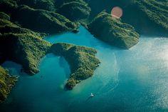 Over tropical island