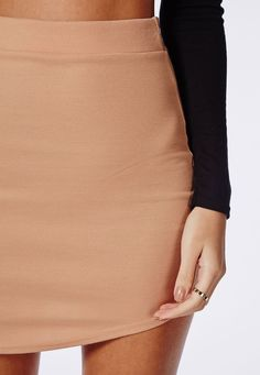 Missguided - Ponte Curve Hem Mini Skirt Nude