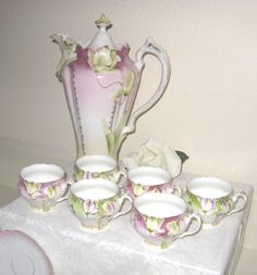 Antique Victorian Hand Painted Porcelain China Chocolate Pot, Cups, Saucers #PrussiaUnmarked
